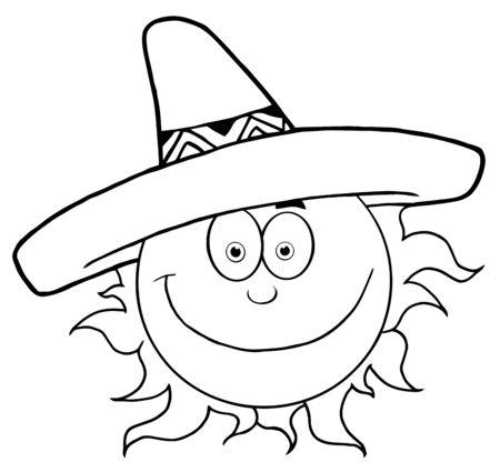 Outlined Smiling Sun With Sombrero Hat  Ilustração
