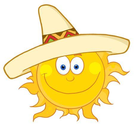 brandweer cartoon: Glimlachend zon met Sombrero hoed