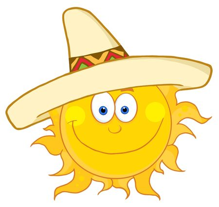 mexican cartoon: Smiling Sun With Sombrero Hat