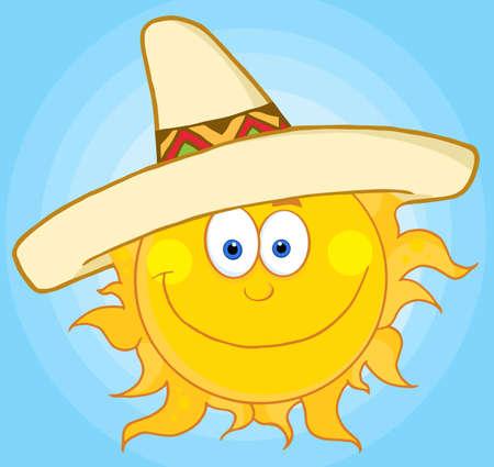 sun: Happy Sun With Sombrero Hat  Illustration