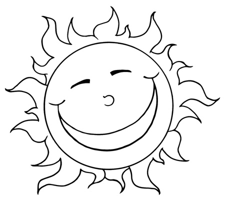 Outlined Smiling Sun Mascot Cartoon Character  Illustration