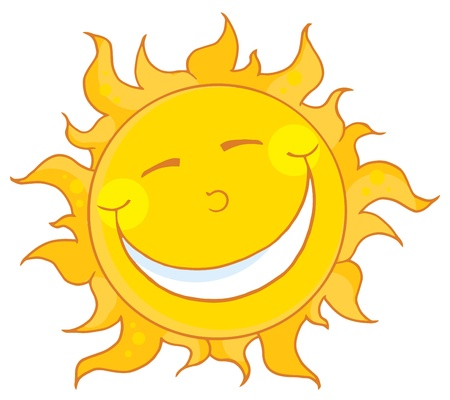 soleil souriant: Personnage de dessin anim� de Sun mascotte souriant  Illustration