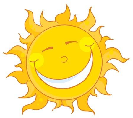 cartoon sun: Smiling Sun Mascot Cartoon Character