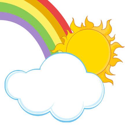 Sun Hiding Behind Cloud With Rainbow  Vector