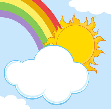 clouds clipart: Sun Hiding Behind Cloud And Rainbow  Illustration
