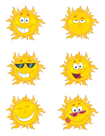 Happy Sun Mascot Cartoon Characters Set 2
