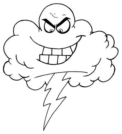 cloud: Outline Storm Cloud With Thunderbolt  Illustration