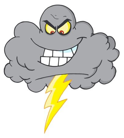 cielo tormenta: Nube de tormenta con rayo  Vectores