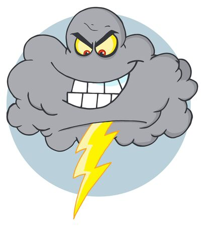cloud: Evil Storm Cloud With Thunderbolt  Illustration