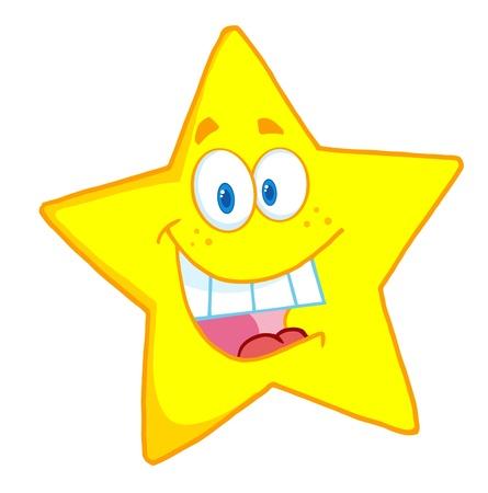 Happy Star Mascot Cartoon Character  Vettoriali