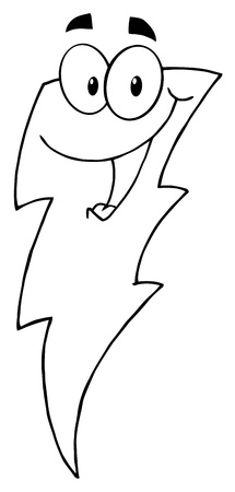 Outlined Happy Lightning Mascot Cartoon Character  Vector