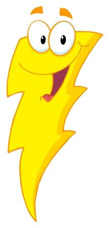 幸せな雷のマスコットの漫画のキャラクター 写真素材 - 9152398