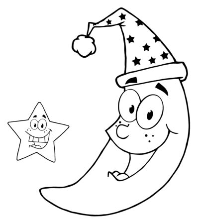 Outlined Happy Star And Moon Mascot Cartoon Characters  Vector