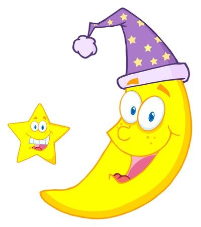 Happy Star And Moon Mascot Cartoon Characters