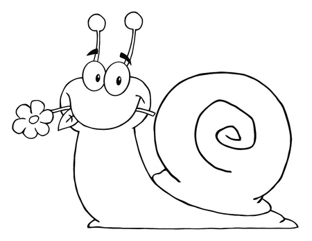Outlined Cartoon Snail With A Flower In Its Mouth  Ilustração