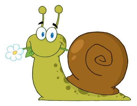 petites fleurs: Happy Cartoon escargot avec une fleur dans sa bouche.  Illustration