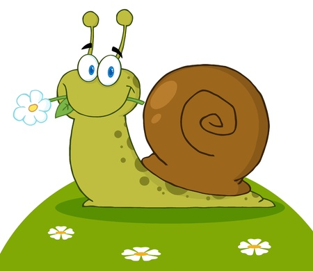 Happy Snail With A Flower In Its Mouth On A Hill  Stock Illustratie