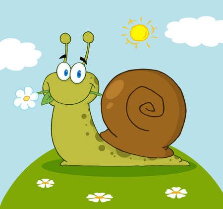 caracol: Feliz caracol de dibujos animados con una flor en la boca en una colina