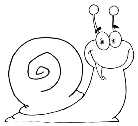 Outlined Happy Cartoon Snail  Vector