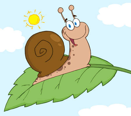 Happy Snail On A Leaf  Vector
