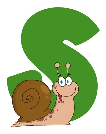 Snail With Letters S Vector