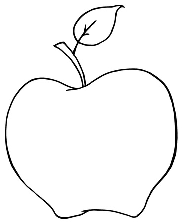 black and white line drawing: Outlined Cartoon Apple