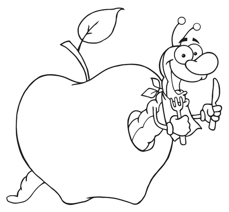 fruit worm: Outlined Happy Cartoon Worm In Apple  Illustration