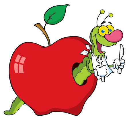 cartoon larva: Happy Cartoon Worm In Apple