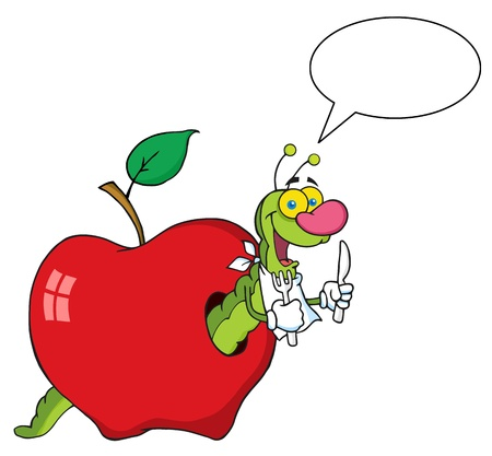 cartoon larva: Happy Cartoon Worm In Apple With Speech Bubble