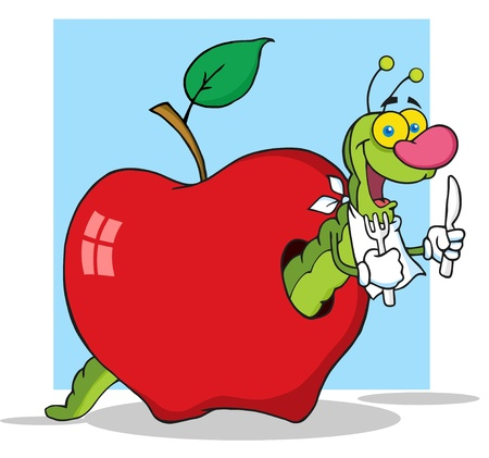 Happy Cartoon Worm In Apple With Background  Illustration