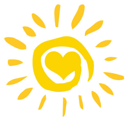 Abstract Sun With Heart  Vector