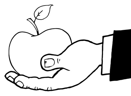 coloring sheets: Outlined Hand Holding A Red Apple Illustration
