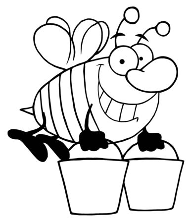 Outlined Happy Honey Bee Flying With A Buckets  Vector
