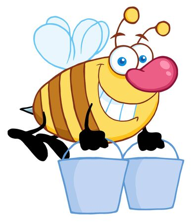 Honey Bee Flying With A Buckets  Vector