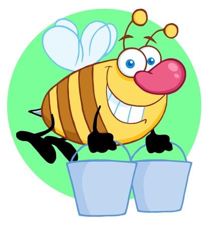 Happy Honey Bee Flying With A Buckets  일러스트