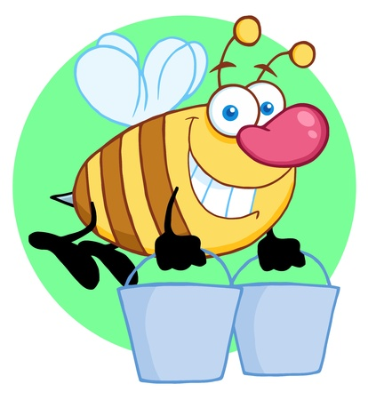 beatific: Happy Honey Bee Flying With A Buckets  Illustration