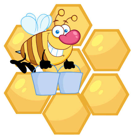 Happy Honey Bee Flying With A Buckets In Front Of A Orange Bee Hives  Stock Vector - 9276655