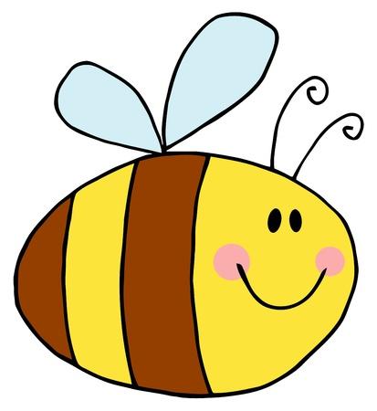 Bee stripfiguur vliegen  Stock Illustratie