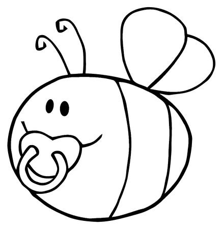 Flying Baby Bee Cartoon Character  일러스트