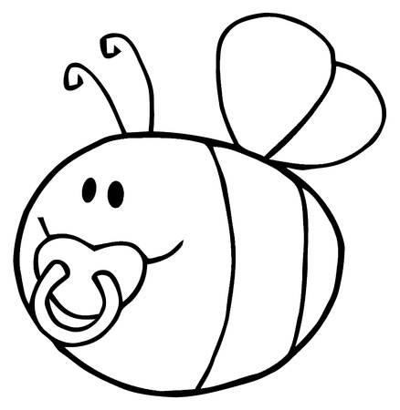 Flying Baby Bee Cartoon Character  Vector
