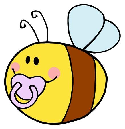 Flying Baby Bee Cartoon Character  Illustration