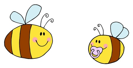 Mother Bee Flying With Baby Bee Cartoon Characters  Vector