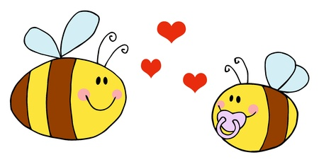 Mother Bee Flying With Baby Bee and Red Hearts  Vector