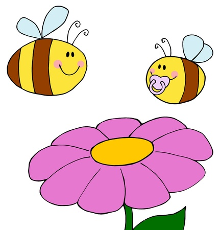 Mother Bee Flying With Baby Bee Over Flower  Vector
