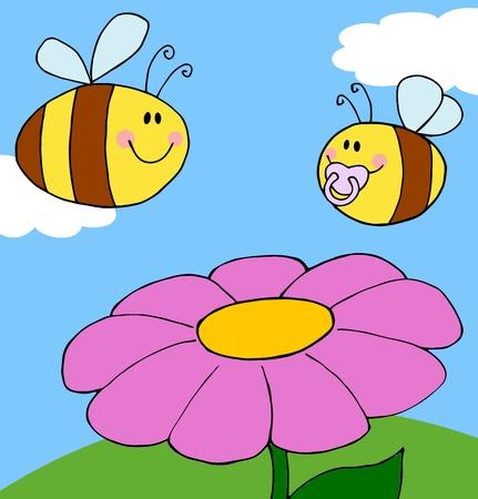 Moeder Bee vliegen met Baby Bee Over bloem achtergrond  Stock Illustratie
