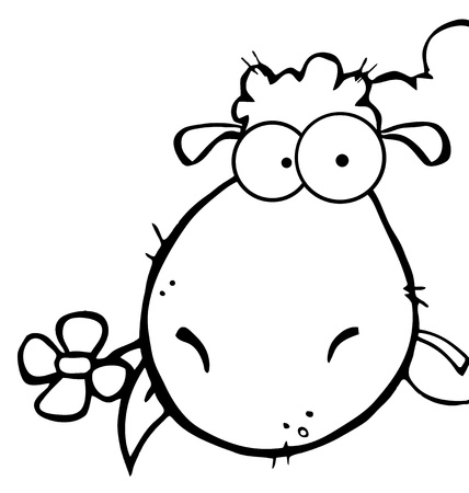 sheep cartoon: Outlined Sheep Head Cartoon Character Carrying A Flower In Its Mouth