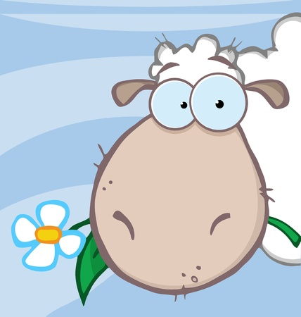 sheeps: Sheep Head Cartoon Character Carrying A Flower In Its Mouth  Illustration