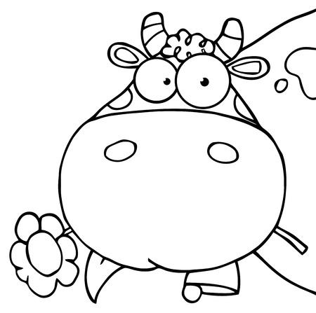그것의 입에 꽃을 들고 윤곽이 지정된 암소 머리 만화 캐릭터