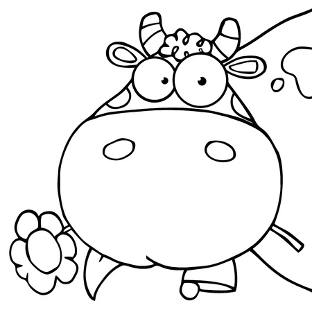 Outlined Cow Head Cartoon Character Carrying A Flower In Its Mouth  Ilustração