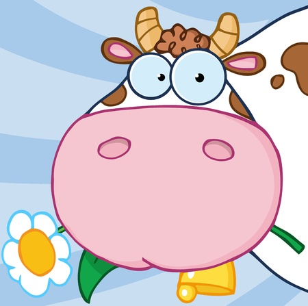 toons: Cow Head Carrying A Flower In Its Mouth
